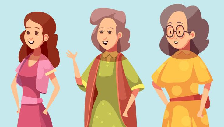 Tre generationer kvinder